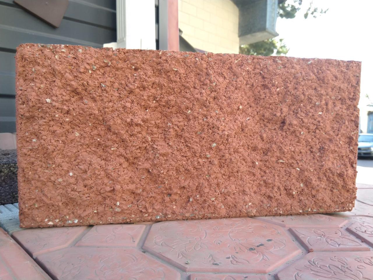 Плитка рваная 390х190х60 мм Красный вибролитая