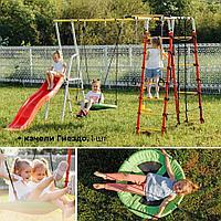 Детский спортивный комплекс для дачи ROMANA Богатырь Плюс 2 + Качеля Гнездо