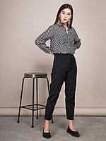 Рубашка с карманами и принтом в квадратик черный