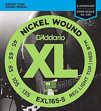 Струны для 5-струнной бас-гитары D'addario EXL165-5