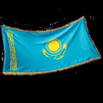 Государственное Знамя Республики Казахстан, тафта с бахромой, 1*2 м