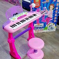 Детский синтезатор с микрофоном 27-3 розовый