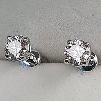 Золотые серьги пуссеты с бриллиантами 0.41Ct SI2/H, EX-Cut, фото 1