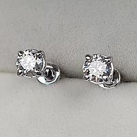 Золотые серьги пуссеты с бриллиантами 0.50Ct SI2/G EX-Cut, фото 1