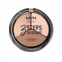 NYX Professional Makeup Палетка корректирующих средств 3 Steps To Sculpting Palette