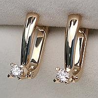 Золотые серьги с бриллиантами 0.20Ct VS2/J, G-Cut, фото 1