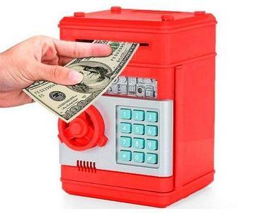 Копилка-сейф электронная с кодовым замком и купюроприемником Money Bank (Красный)