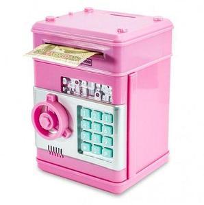Копилка-сейф электронная с кодовым замком и купюроприемником Money Bank (Розовый)