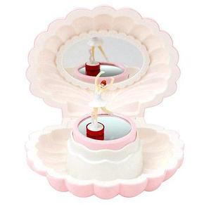 Шкатулка для сокровищ музыкальная с танцующей балериной «Ракушка Ариэль» (Нежно-розовый)