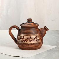 "Чайник для заварки ""Гончарный"", ангоб, красная глина, 0.6 л"