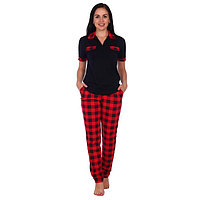 Костюм домашний женский (футболка, брюки) 'МИШЕЛЬ', цвет красный/чёрный, размер 50