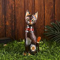 Интерьерный сувенир 'Кошка с красными вставками' 30 см