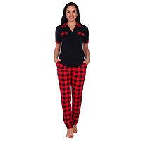 Костюм домашний женский (футболка, брюки) 'МИШЕЛЬ', цвет красный/чёрный, размер 56