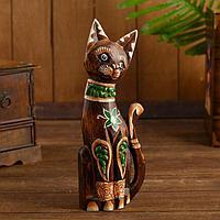 Интерьерный сувенир 'Кошка с зелёным цветком' 30 см