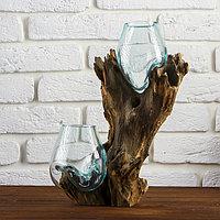 Вазон стекло на дереве 'Двойное великолепие' 40х24х17 см
