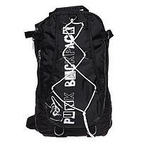 Рюкзак молодежный Calligrata с мягкой спинкой 41х24х16 см на шнурках Punk, цвет чёрный