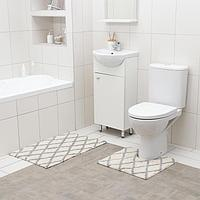 Набор ковриков для ванны AntiSlip, 2 шт: 50×80 см, 50×50 см, 100% хлопок, цвет белый
