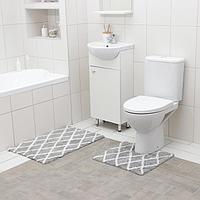 Набор ковриков для ванны AntiSlip, 2 шт: 50×80 см, 50×50 см, 100% хлопок, цвет серый