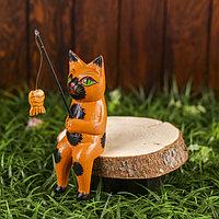 Интерьерный сувенир 'Кот рыбак' рыжий 20 см