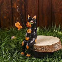 Интерьерный сувенир 'Кот рыбак' чёрный 20 см