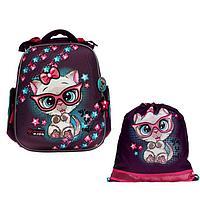 Рюкзак каркасный, Hummingbird TK, 37 х 32 х 18 см, с мешком для обуви, «Котёнок»