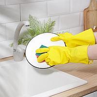 Перчатки A.D.M. резиновые с внутренним х/б напылением, размер XL, 40 гр, цвет жёлтый