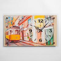 """Часы настенные """"Желтый трамвай"""" 60х36 см, плавный ход"""