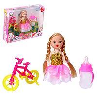Кукла малышка «Настенька на прогулке» с велосипедом и аксессуарами