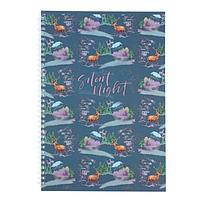 Тетрадь А4, 80 листов в клетку, на гребне Silent night, обложка мелованный картон, матовая ламинация, блок