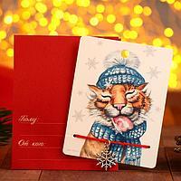 Браслет 'Новогодний' тигрёнок с языком, снежинка, цвет красный