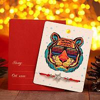 Браслет 'Новогодний' тигр яркий, звезда, цвет красный