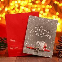Браслет 'Новогодний' Санта с елью, звезда, цвет красный в серебре