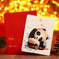 Браслет 'Новогодний' панда, сердце, цвет красный в серебре