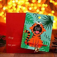 Браслет 'Новогодний' тигр тропики, цветок, цвет красный