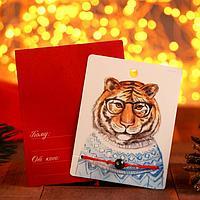 Браслет 'Новогодний' тигр в очках, бусина, цвет красный