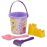 Полесье: Набор Disney Принцесса №10: ведро с наклейкой, лопатка №5, грабельки №5, форм