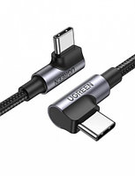 Кабель UGREEN US335 Angled USB-C M/M Cable Aluminium Shell with Braided 1m (Black)