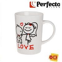 Кружка керамическая 320 мл, Влюбленные сердца 4-1, PERFECTO LINEA