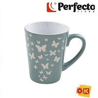 Кружка керамическая, 340 мл, Бабочки, серая, PERFECTO LINEA