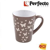 Кружка керамическая, 340 мл, Бабочки, темно-серая, PERFECTO LINEA