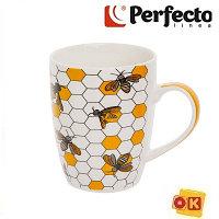 Кружка керамическая, 360 мл, Соты, PERFECTO LINEA