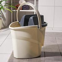 Ведро для мытья пола EXTRA-Shine 5000, 12 л, с корзиной для отжима швабры (флеттер)