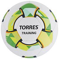 Мяч футбольный TORRES Training, размер 5, 32 панели PU, 4 подкладочных слоя, ручная сшивка, цвет белый/зелёный
