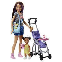 Игровой набор Барби «Няня с ребёнком малышом на прогулке с коляской»
