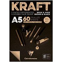 """Блокнот для эскизов и зарисовок 60л. А5 на склейке Clairefontaine """"Kraft"""", 90г/м2,верже,черный/крафт"""