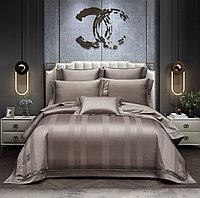 Комплект элитного постельного белья двуспальный однотонное из сатин-жаккарда