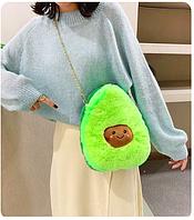 Меховая сумка Авокадо на цепочке