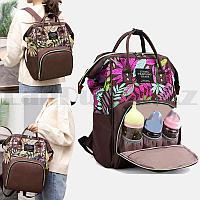 Сумка-рюкзак с боковыми карманами Living Travelling Share с тропическим принтом коричневая