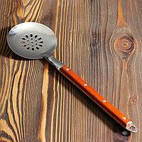 Шумовка для казана узбекская 40 см, с деревянной ручкой