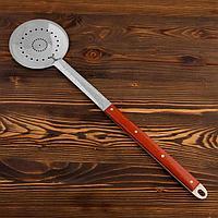 Шумовка  для казана узбекская 65см ,диаметр 16 см , с деревянной ручкой
